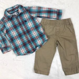Plaid Button Down and Khaki Pant Set